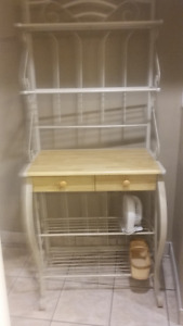 Bakers Rack with shelves and two drawers
