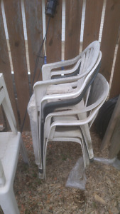 6  patio chairs and 3 side tables