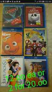 Disney blu rays reduced to 12.oo ea or 2 for 20.oo
