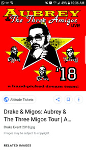 Swap/Trade Drake tickets 4 tickets for 4 tickets side by side