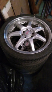 4x100 street rebel rims with new tires