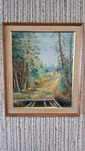Oil painting of forest and road