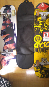 Two complete skateboards for sale with skateboard bag