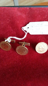 GOLD PLATED 1906 INDIAN HEAD PENNY TIE TACK AND CUFFLINKS