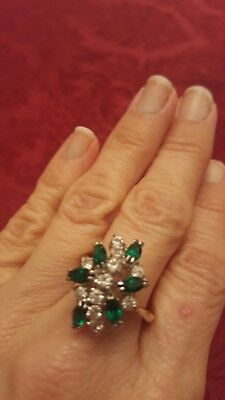Ring size 8 Vintage Cubic Zirconia - Emerald Simulated Gemstone 18K gold plated