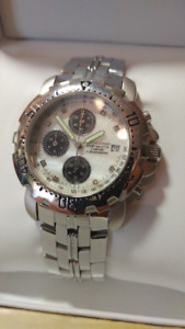 Krug-Bauman Chronograph Watch - Mother of Pearl & Diamond Face