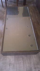 Brown table with glass top (removable)