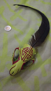 Beaver Skull + Rooster Feather Charm