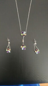 Multi-gem Necklace and Earring Set
