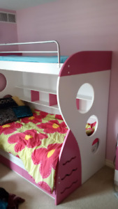 Child - Teen Girls Euro Bunk Bed and 3rd trundle with drawers