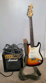 Guitar and amplifier (Fender squire strat and Marshall 10CD)