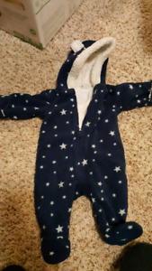 0-3month fuzzy snow suit