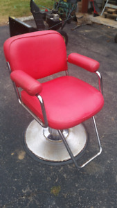 Red leather barbershop chair