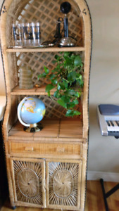 Vintage wicker shelving unit