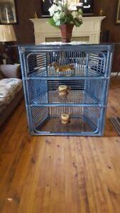 Large Wicker Coner Shelf with Beveled Glass