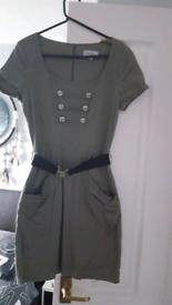 Khaki military style dress with belt
