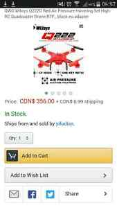 QWG Wltoys Q222G Red Air Pressure Hovering Set High RC Quad Cambridge Kitchener Area image 3