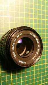 Canon Fd 50mm 1.8 lentille à focus manuelle.
