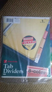 Tab dividers 8 colours  , I have 4 sets new, $5  for all