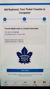 Toronto maple Leafs vs. Carolina Hurricanes, Apr 2 @ 7:30pm