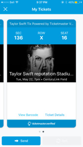 Two Taylor Swift Reputation concert tickets in Seattle May 22nd