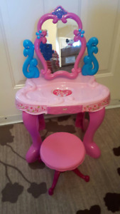 Kids vanity with mirror and stool