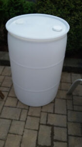 55 Gallon White Drum, Plastic