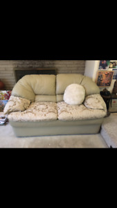 Leather and Fabric Two Seater Couch