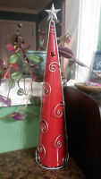 Tall red candle holder for sale!