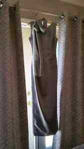 Pewter full length gown with long scarf