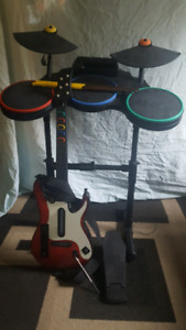guitar hero drums and guitar and foot pedal