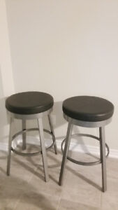 Swivel Black/Grey Metal Bar Height Stool
