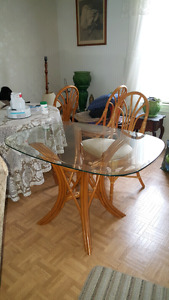 Rattan Table and 4 Chairs