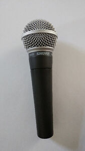Microphones and boom stand - SHURE SM58; Samson Audio Q7;