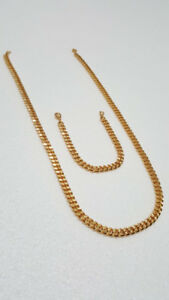 18K PVD GOLD DUBAI CUBAN CHAIN SET