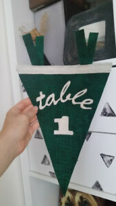 Table Numbers, Wedding Decor, Pennant, Bunting