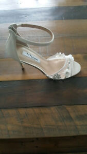 Ivory Ankle Strap Evening Sandals- Size 8, Brand New