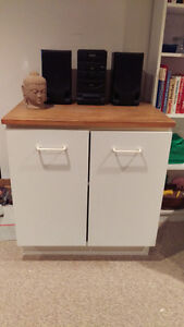 White cupboard with solid wood top