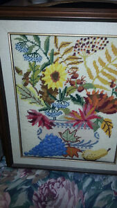 FS: X-Stitch Picture of Flowers & Fruit - GREAT Condition
