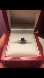 Beautiful sapphire and diamond ring, size J