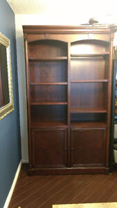 Mahogany color glass display cabinet with lighting