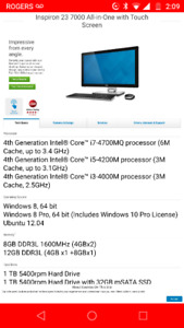 Dell 7000 series all in one Intel i7