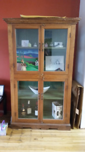 Solid Wood Antique Hutch/Display Cabinet - OBO