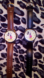 2 Disney Mickey Mouse Unisex Watches Gold Tone Leather Classic