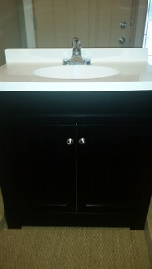 """31"""" cultured marble top vanity with faucet."""