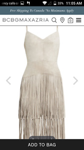 BCBG Max Azria Evin Faux Suede Tiered Fringe Dress