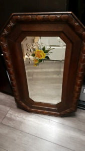 Antique mirror handcrafted oak frame