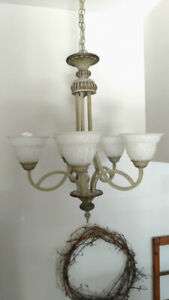 Chandelier and 2 Sconces