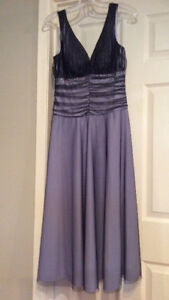 Semi-Formal Dress : Pastel Purple with Black sheer Overlay