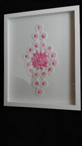 """Large 12""""X15"""" Shadow Box Frame With Glass and Crochet Work"""